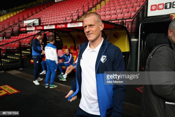 Ben Watson of Watford arrives at the stadium prior to the Premier League match between Watford and Stoke City at Vicarage Road on October 28 2017 in...