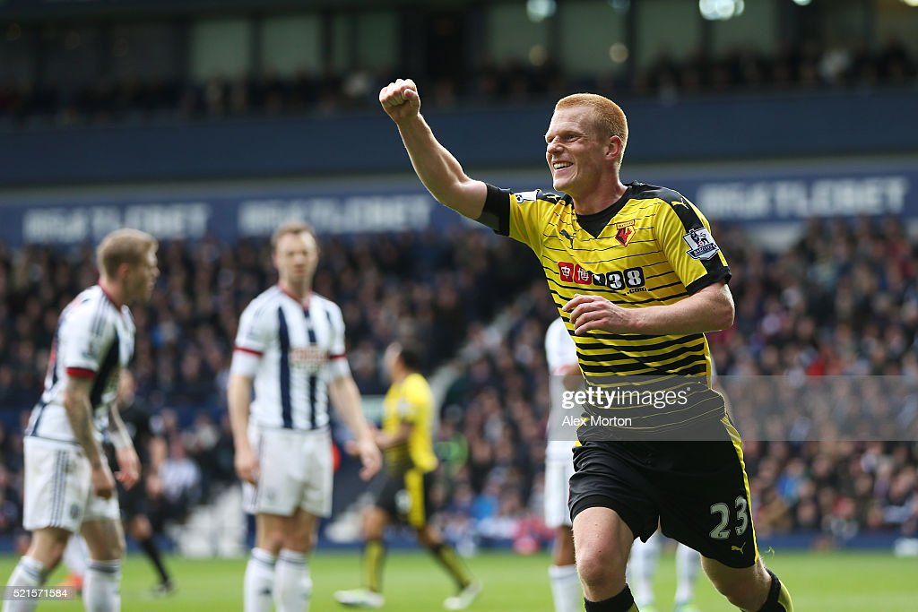 Ben Watson of Watford celebrates scoring his sides winning goal during the Barclays Premier League match between West Bromwich Albion and Watford at The Hawthorns on April 16, 2016 in West Bromwich, England.