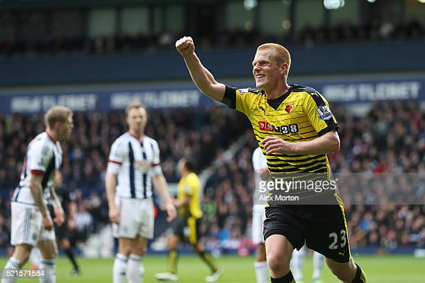 Ben Watson of Watford celebrates scoring his sides winning goal during the Barclays Premier League match between West Bromwich Albion and Watford at...
