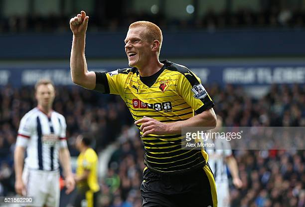 Ben Watson of Watford celebrates scoring the opening goal during the Barclays Premier League match between West Bromwich Albion and Watford at The...