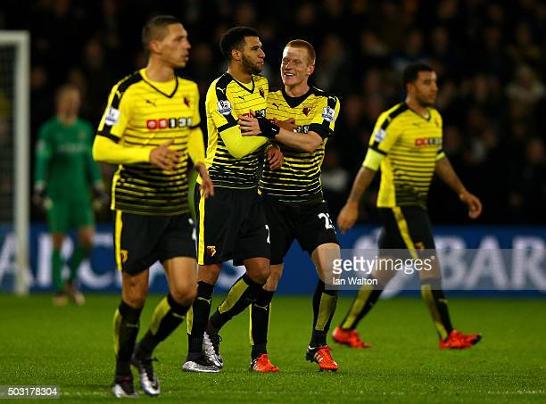 Ben Watson of Watford celebrates with Etienne Capoue of Watford after scoring his side's first goal from a corner during the Barclays Premier League...