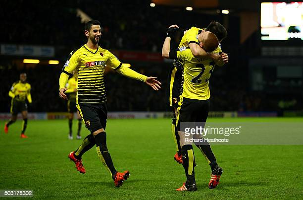 Ben Watson of Watford celebrates with his team mates after scoring his side's first goal from a corner during the Barclays Premier League match...