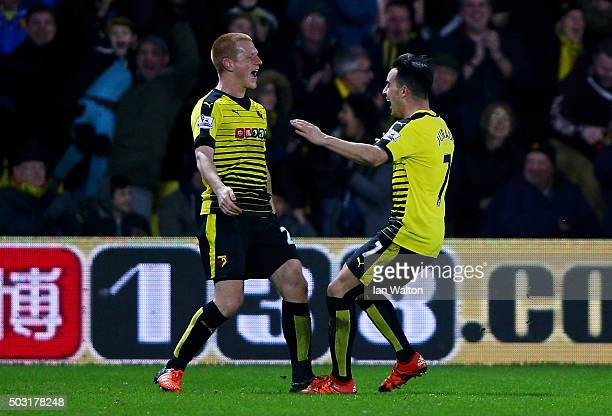 Ben Watson of Watford celebrates with Jose Manuel Jurado of Watford after scoring his side's first goal during the Barclays Premier League match...