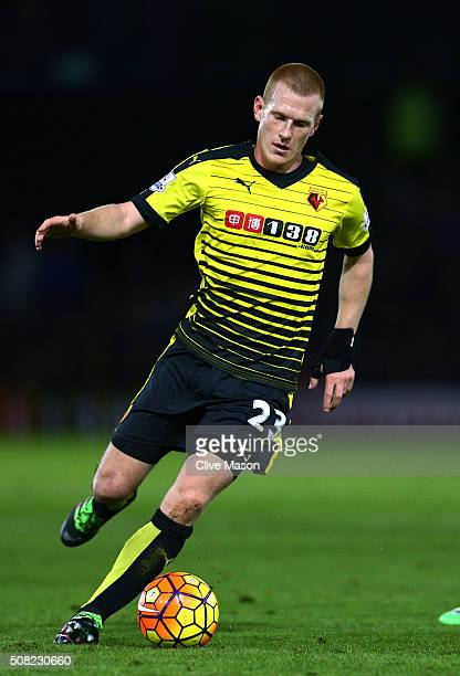 Ben Watson of Watford controls the ball during the Barclays Premier League match between Watford and Chelsea at Vicarage Road on February 3 2016 in...
