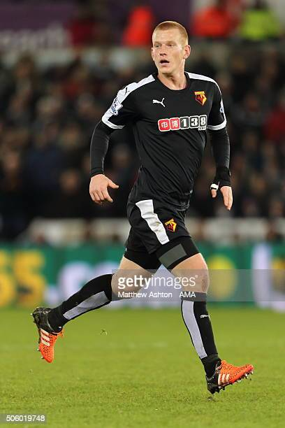 Ben Watson of Watford during the Barclays Premier League match between Swansea City and Watford at the Liberty Stadium on January 18 2016 in Swansea...