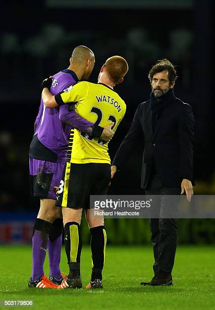 Ben Watson of Watford embraces Heurelho Gomes of Watford as Quique Flores Manager of Watford looks on during the Barclays Premier League match...
