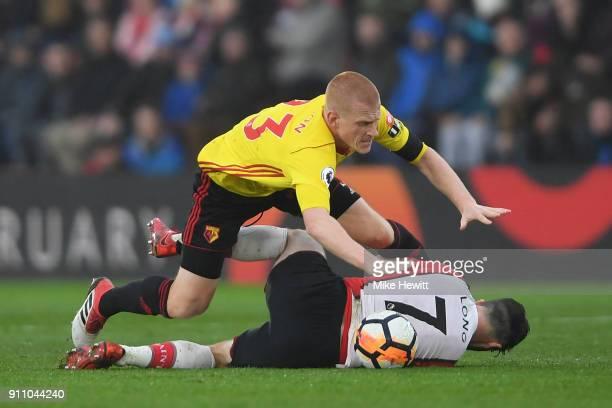 Ben Watson of Watford fouls Shane Long during The Emirates FA Cup Fourth Round match between Southampton and Watford at St Mary's Stadium on January...