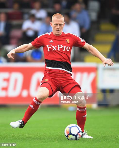 Ben Watson of Watford in action during the preseason friendly match between AFC Wimbledon and Watford at The Cherry Red Records Stadium on July 15...