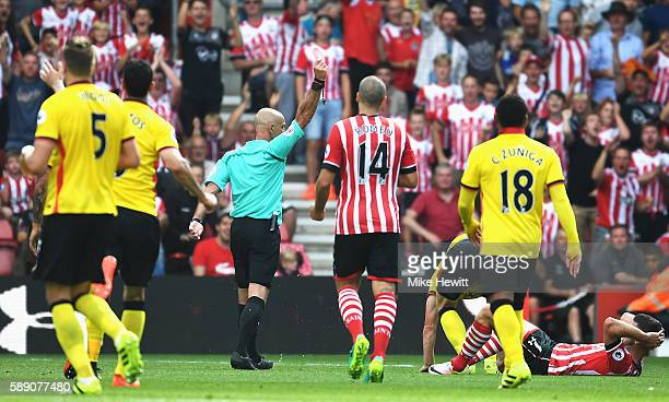 Ben Watson of Watford is sent off during the Premier League match between Southampton and Watford at St Mary's Stadium on August 13 2016 in...