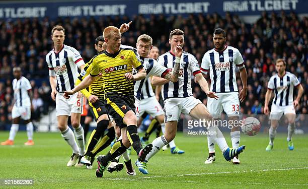 Ben Watson of Watford scores the opening goal during the Barclays Premier League match between West Bromwich Albion and Watford at The Hawthorns on...