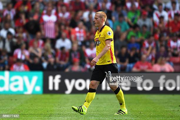 Ben Watson of Watford walks off the pitch after being sent off during the Premier League match between Southampton and Watford at St Mary's Stadium...