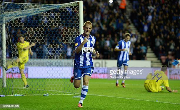 Ben Watson of Wigan celebrates scoring the second goal during the UEFA Europa League match between Wigan and NK Maribor at DW Stadium on October 3...