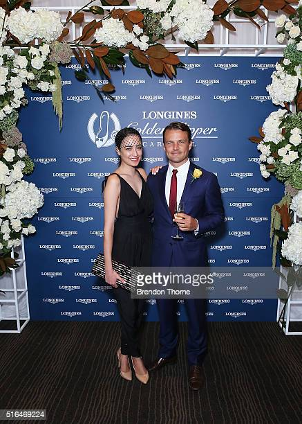 Ben Way and Abbey Gelmi pose during Golden Slipper Day at Rosehill Gardens on March 19 2016 in Sydney Australia