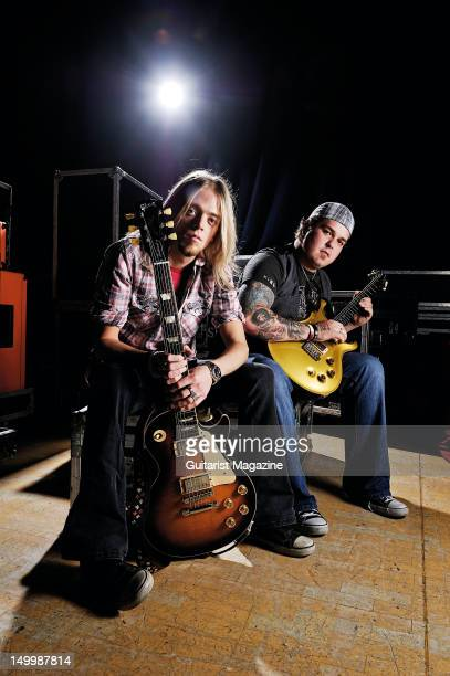 Ben Wells and Chris Robertson of American rock band Black Stone Cherry during a portrait shoot for Guitarist Magazine November 23 2011