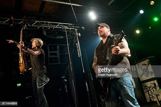 Ben Wells and Chris Robertson of the American band Black Stone Cherry perform live during a concert at the Postbahnhof on February 20 2016 in Berlin...