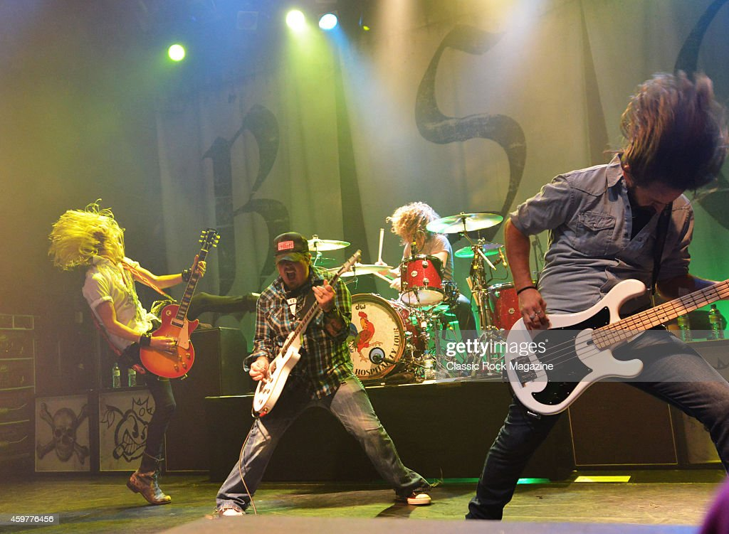 Ben Wells, Chris Robertson, John Fred Young and Jon Lawhon of American rock group Black Stone Cherry performing live on stage at KOKO in London, on February 28, 2014.
