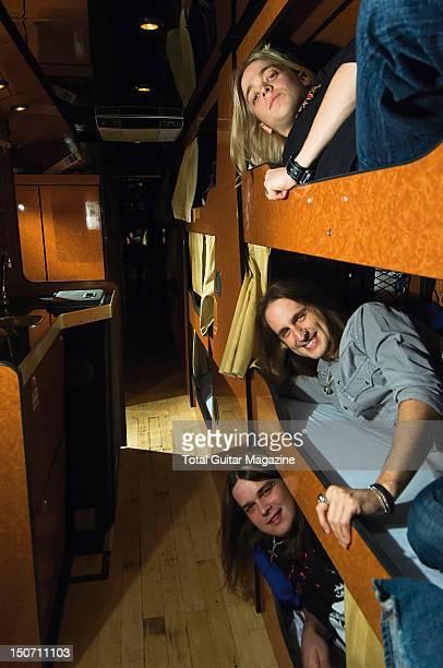 Ben Wells Jon Lawhon and Chris Robertson of American hard rock group Black Stone Cherry onboard their tour bus taken on October 17 2007