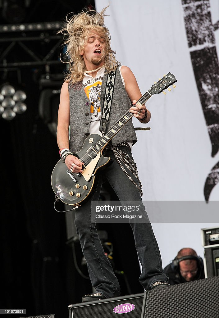 Ben Wells of American hard rock band Black Stone Cherry performing live onstage at Hard Rock Calling Festival, July 13, 2012.