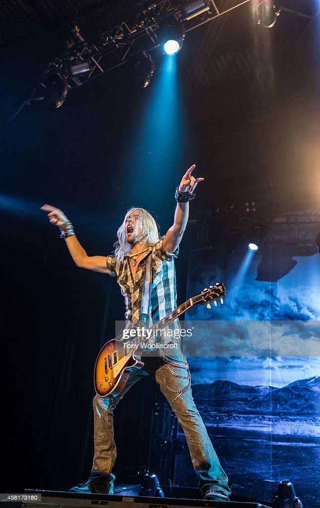 Ben Wells of Black Stone Cherry performs at LG Arena on October 30, 2014 in Birmingham, England.