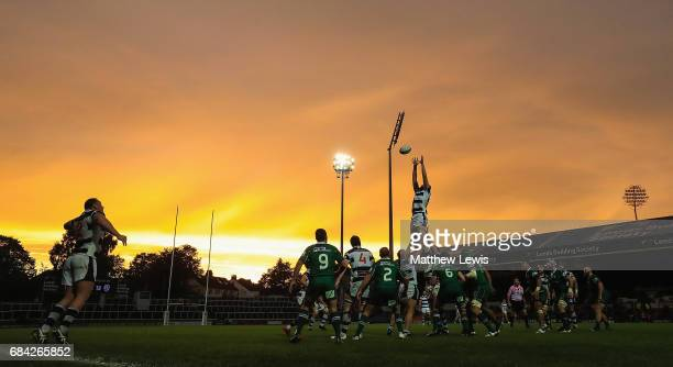 Ben West of Leeds Carnegie wins the lineout during the Greene King IPA Championship Final First Leg match between Leeds Carnegie and London Irish at...