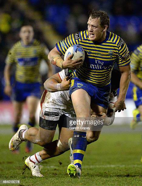 Ben Westwood of Warrington Wolves in action during the World Club Series match between Warrington Wolves and St George Illawarra Dragons at The...
