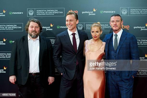Ben Wheatley Tom Hiddleston Sienna Miller and Luke Evans attend 'HighRise' premiere during 63rd San Sebastian Film Festival on September 22 2015 in...