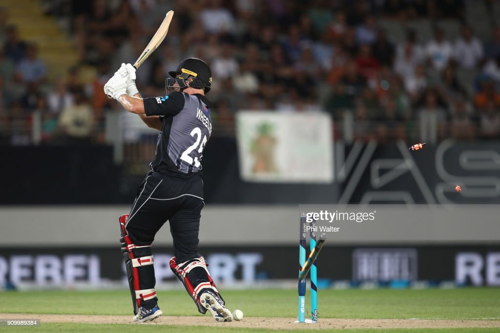 Ben Wheeler of the Blackcaps is bowled during the International Twenty20 match between New Zealand and Pakistan at Eden Park on January 25, 2018 in Auckland, New Zealand.