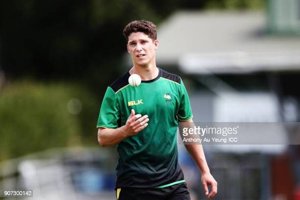 Ben Wheeler of the Stags warms up prior to the Super Smash Grand Final match between the Knights and the Stags at Seddon Park on January 20 2018 in...