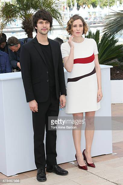 Ben Whishaw and Angeliki Papoulia attends the 'The Lobster' photocall during the 68th annual Cannes Film Festival on May 15 2015 in Cannes France