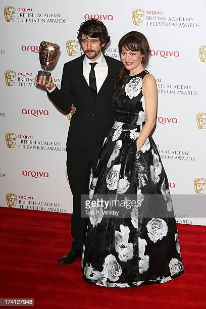 Ben Whishaw and Helen McCrory pose in the press room at the Arqiva British Academy Television Awards 2013 at the Royal Festival Hall on May 12 2013...