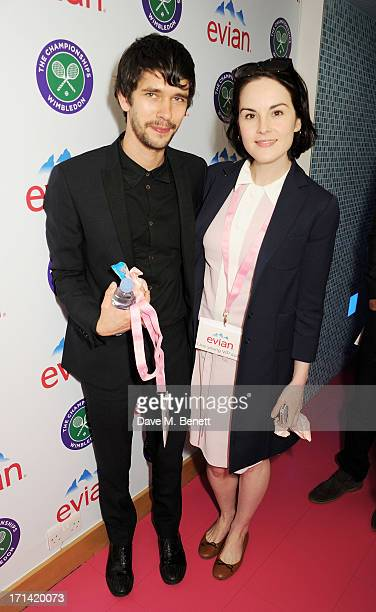 Ben Whishaw and Michelle Dockery attend the evian 'Live Young' Suite at Wimbledon on June 24 2013 in London England