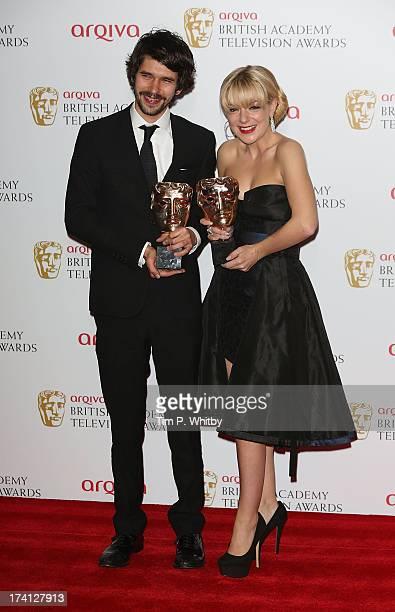 Ben Whishaw and Sheridan Smith pose in the press room at the Arqiva British Academy Television Awards 2013 at the Royal Festival Hall on May 12 2013...