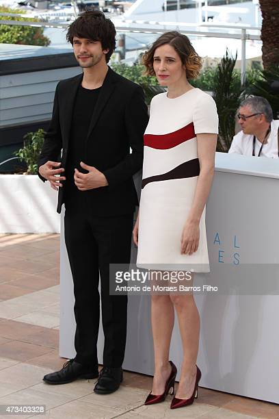 Ben Whishaw Angeliki Papoulia attend the The Lobster photocall during the 68th annual Cannes Film Festival on May 15 2015 in Cannes France