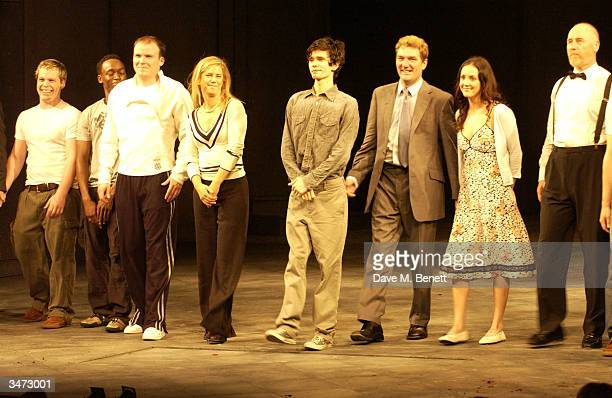 Ben Whishaw Tom Mannion and Samantha Whitaker are joined by the rest of the actors on stage at the press night for the new production of 'Hamlet' on...