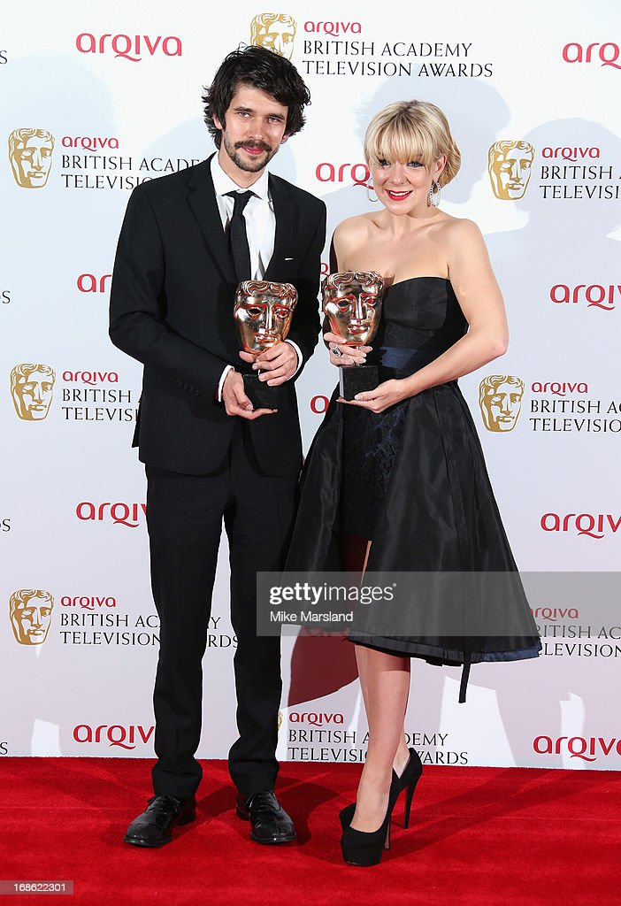 Ben Whishaw with his Best Actor award and Sheridan Smith with her Best Actress award during the Arqiva British Academy Television Awards 2013 at the Royal Festival Hall on May 12, 2013 in London, England.