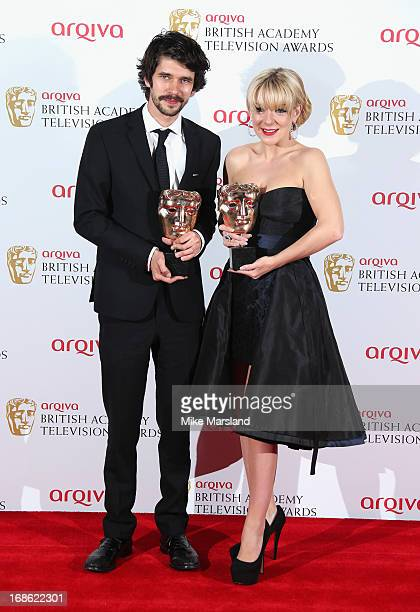 Ben Whishaw with his Best Actor award and Sheridan Smith with her Best Actress award during the Arqiva British Academy Television Awards 2013 at the...