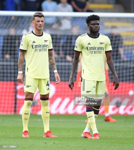 Ben White and Thomas Partey of Arsenal during the Premier League match between Burnley and Arsenal at Turf Moor on September 18, 2021 in Burnley,...