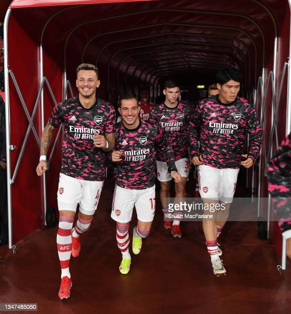 Ben White, Cedric and Takehiro Tomiyasu of Arsenal before the Premier League match between Arsenal and Crystal Palace at Emirates Stadium on October...