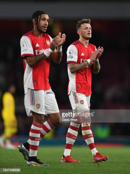 Ben White of Arsenal claps the fans after the Premier League match between Arsenal and Crystal Palace at Emirates Stadium on October 18, 2021 in...