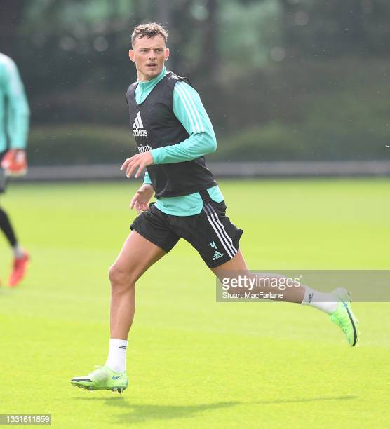Ben White of Arsenal during a training session at London Colney on July 30, 2021 in St Albans, England.