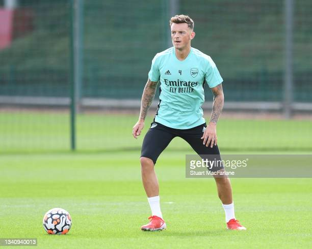 Ben White of Arsenal during a training session at London Colney on September 17, 2021 in St Albans, England.