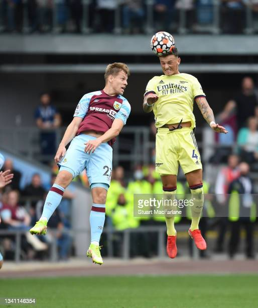 Ben White of Arsenal during outjumps Matej Vydra of Burnley the Premier League match between Burnley and Arsenal at Turf Moor on September 18, 2021...