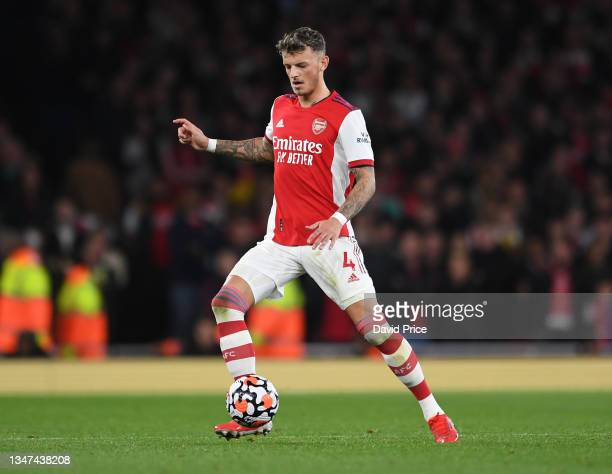 Ben White of Arsenal during the Premier League match between Arsenal and Crystal Palace at Emirates Stadium on October 18, 2021 in London, England.