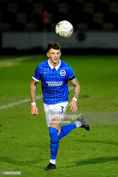 Ben White of Brighton & Hove Albion in action during the FA Cup Third Round match between Newport County and Brighton And Hove Albion at Rodney...