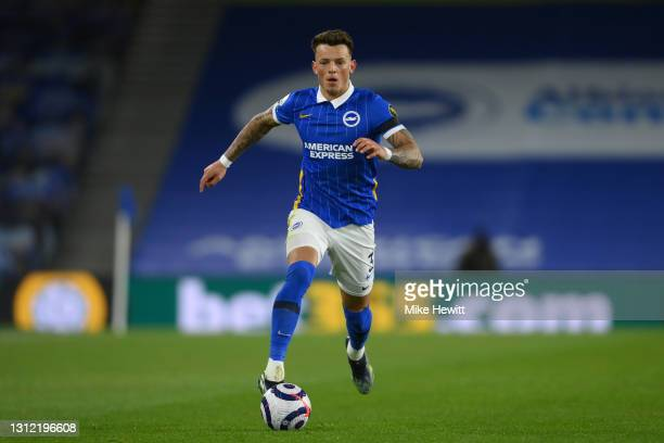 Ben White of Brighton & Hove Albion in action during the Premier League match between Brighton & Hove Albion and Everton at American Express...