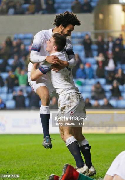 Ben White of England celebrates with Jordan Olowofela after scoring a try during the Natwest Under 20's Six Nations between England U20 and Ireland...