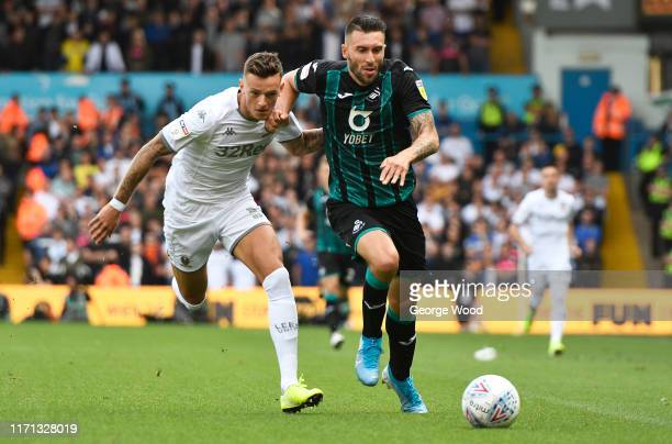 Ben White of Leeds United battles for the ball with Borja Gonzalez of Swansea City during the Sky Bet Championship match between Leeds United and...