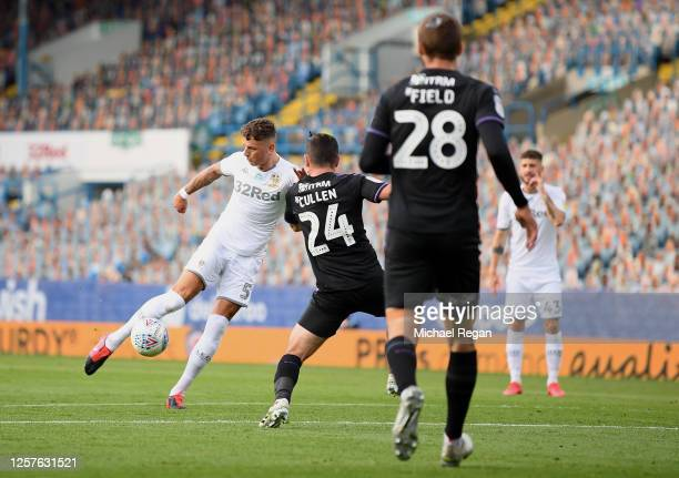 Ben White of Leeds United scores his team's first goal during the Sky Bet Championship match between Leeds United and Charlton Athletic at Elland...