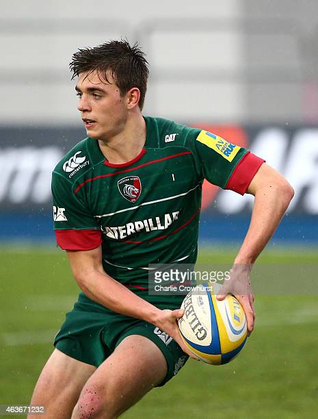 Ben White of Leicester during the Premiership Rugby/RFU U18 Academy Finals Day match between Leicester and Bath at The Allianz Park on February 16...