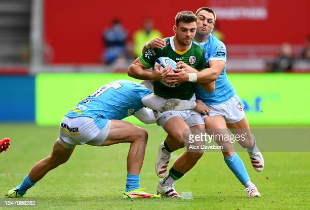 Ben White of London Irish goes into contact during the Gallagher Premiership Rugby match between London Irish and Gloucester Rugby at Brentford...